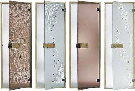 Двери для бани и сауны из стекла с различной отделкой